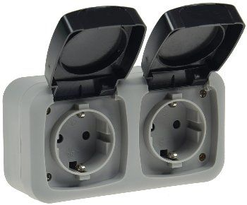 Feuchtraum Doppel-Steckdose, IP44 250V~/ 16A, inkl. AP-Rahmen, grau